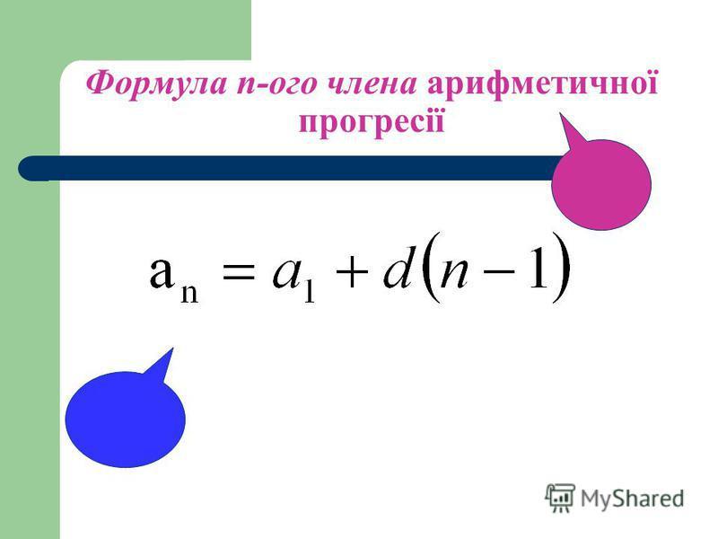 Означення: Арифметичною прогресією називається числова послідовність, в якій кожний член, починаючи з другого, дорівнює попередньому члену, до якого додається одне й те саме число. Це число називається різницею арифметичної прогресії і позначається б