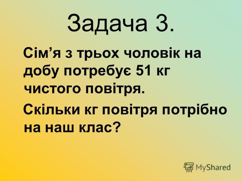 Задача 3. Сімя з трьох чоловік на добу потребує 51 кг чистого повітря. Скільки кг повітря потрібно на наш клас?