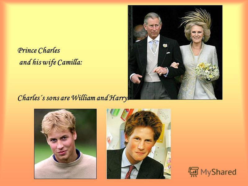 Prince Charles and his wife Camilla: Charles´s sons are William and Harry: