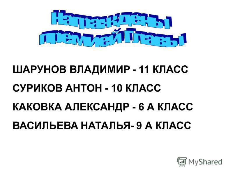 ШАРУНОВ ВЛАДИМИР - 11 КЛАСС СУРИКОВ АНТОН - 10 КЛАСС КАКОВКА АЛЕКСАНДР - 6 А КЛАСС ВАСИЛЬЕВА НАТАЛЬЯ- 9 А КЛАСС
