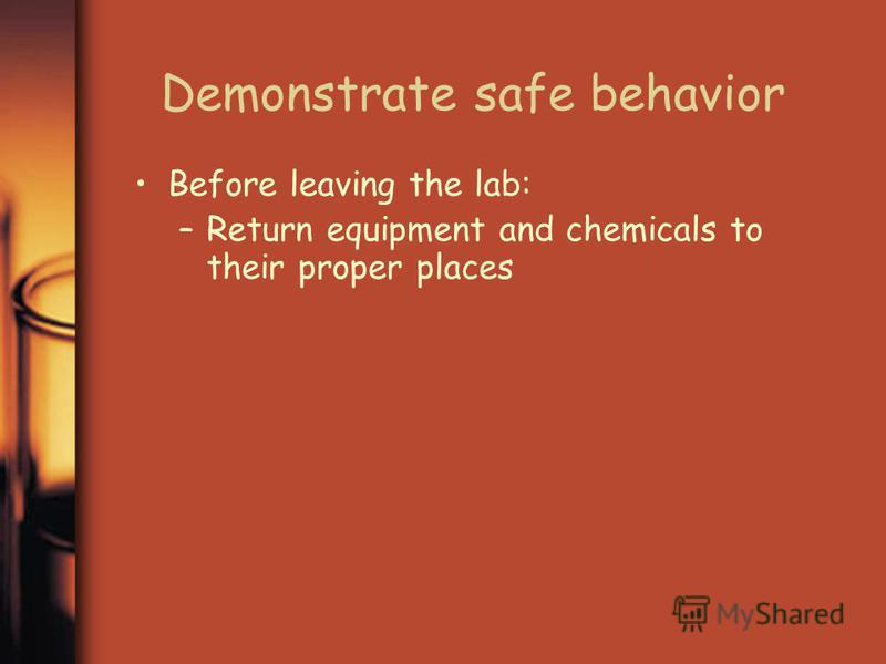 Demonstrate safe behavior Before leaving the lab: –Return equipment and chemicals to their proper places