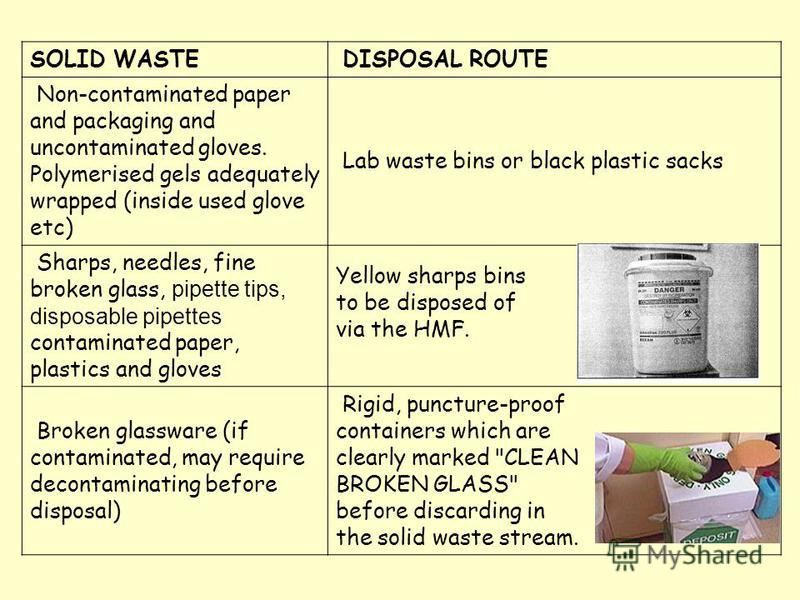 SOLID WASTE DISPOSAL ROUTE Non-contaminated paper and packaging and uncontaminated gloves. Polymerised gels adequately wrapped (inside used glove etc) Lab waste bins or black plastic sacks Sharps, needles, fine broken glass, pipette tips, disposable