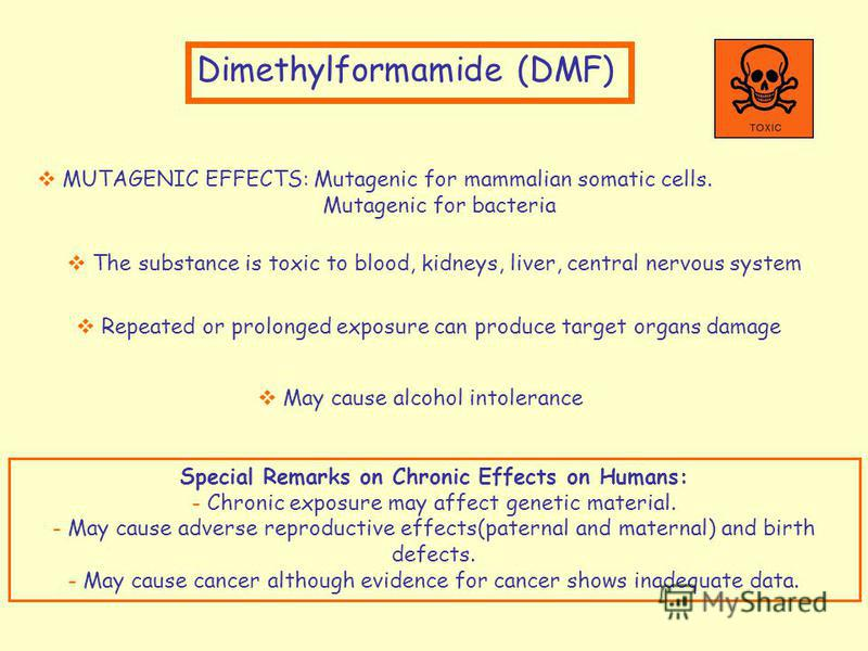 Dimethylformamide (DMF) MUTAGENIC EFFECTS: Mutagenic for mammalian somatic cells. Mutagenic for bacteria The substance is toxic to blood, kidneys, liver, central nervous system Special Remarks on Chronic Effects on Humans: - Chronic exposure may affe