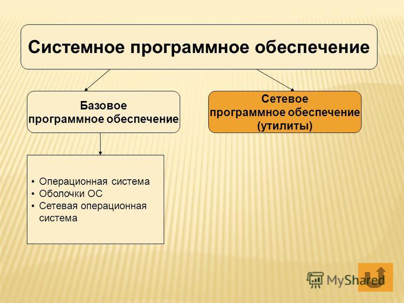 Системное программное обеспечение Базовое программное обеспечение Сетевое программное обеспечение (утилиты) Операционная система Оболочки ОС Сетевая операционная система