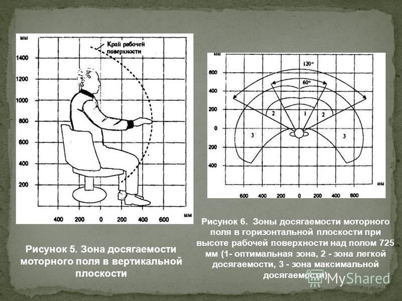 Рисунок 5. Зона досягаемости моторного поля в вертикальной плоскости Рисунок 6. Зоны досягаемости моторного поля в горизонтальной плоскости при высоте рабочей поверхности над полом 725 мм (1- оптимальная зона, 2 - зона легкой досягаемости, 3 - зона м