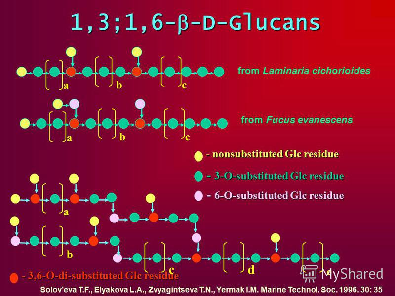 1,3;1,6- -D-Glucans a e dc b - 3,6-О-di-substituted Glc residue - nonsubstituted Glc residue - 3-О-substituted Glc residue - 6-О-substituted Glc residue a bc from Laminaria cichorioides a bc from Fucus evanescens Soloveva T.F., Elyakova L.A., Zvyagin