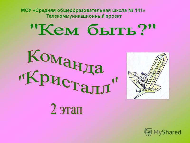 МОУ «Средняя общеобразовательная школа 141» Телекоммуникационный проект