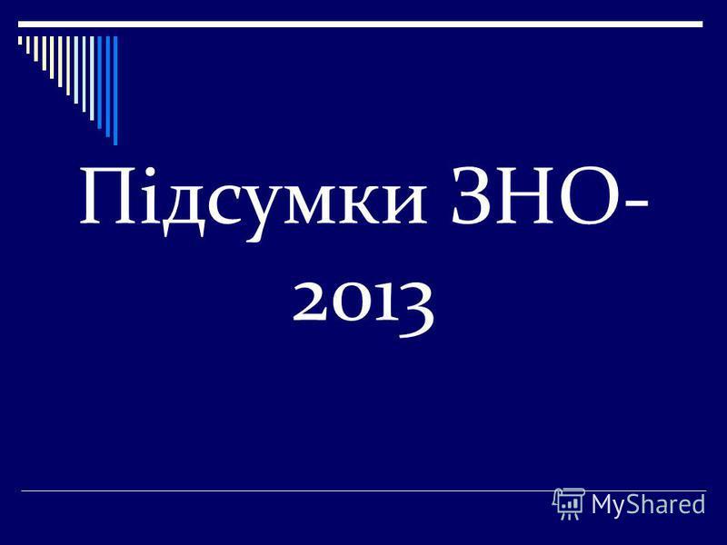 Підсумки ЗНО- 2013