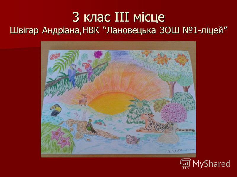 3 клас ІІІ місце Швігар Андріана,НВК Лановецька ЗОШ 1-ліцей