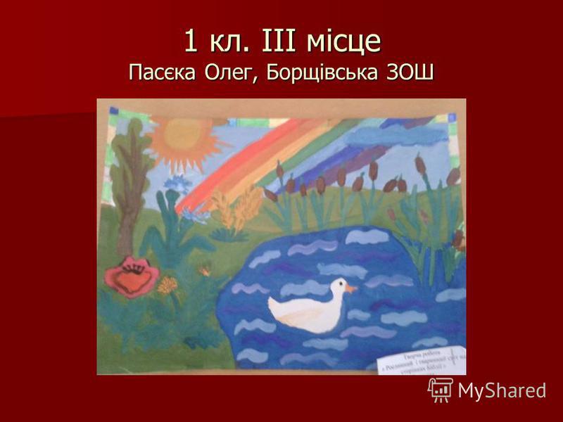1 кл. ІІІ місце Пасєка Олег, Борщівська ЗОШ