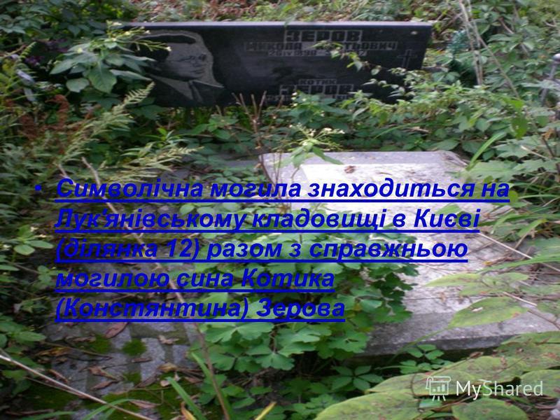 Символічна могила знаходиться на Лук'янівському кладовищі в Києві (ділянка 12) разом з справжньою могилою сина Котика (Констянтина) Зерова