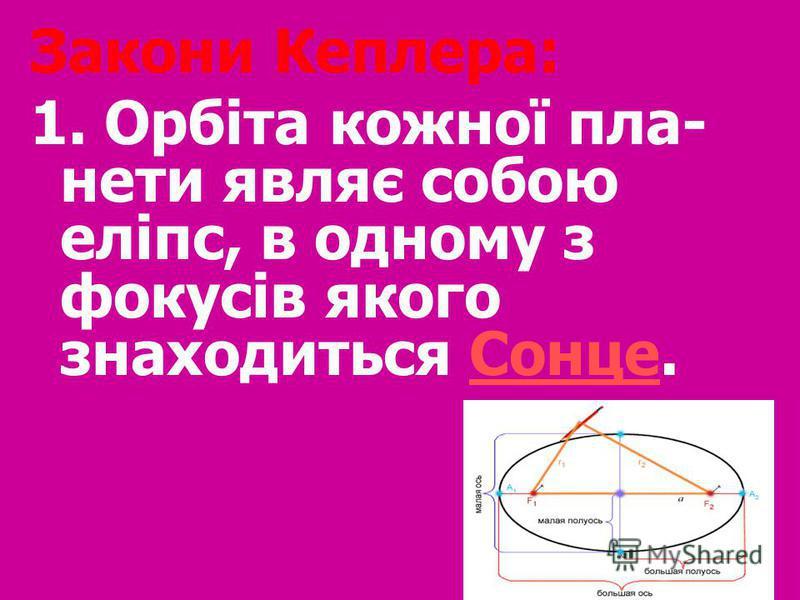 Закони Кеплера: 1. Орбіта кожної пла- нети являє собою еліпс, в одному з фокусів якого знаходиться Сонце.Сонце