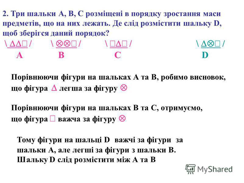 2. Три шальки А, В, С розміщені в порядку зростання маси предметів, що на них лежать. Де слід розмістити шальку D, щоб зберігся даний порядок? \ / \ / \ / \ / A B C D Порівнюючи фігури на шальках А та В, робимо висновок, що фігура легша за фігуру Пор