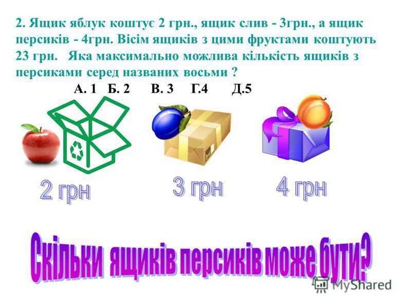 2. Ящик яблук коштує 2 грн., ящик слив - 3грн., а ящик персиків - 4грн. Вісім ящиків з цими фруктами коштують 23 грн. Яка максимально можлива кількість ящиків з персиками серед названих восьми ? А. 1 Б. 2 В. 3 Г.4 Д.5