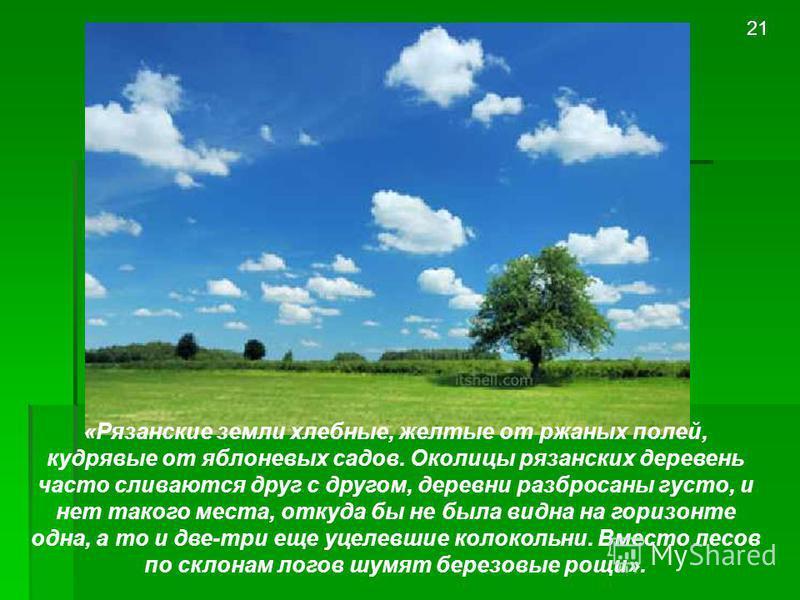 «Рязанские земли хлебные, желтые от ржаных полей, кудрявые от яблоневых садов. Околицы рязанских деревень часто сливаются друг с другом, деревни разбросаны густо, и нет такого места, откуда бы не была видна на горизонте одна, а то и две-три еще уцеле