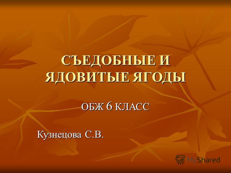 СЪЕДОБНЫЕ И ЯДОВИТЫЕ ЯГОДЫ ОБЖ 6 КЛАСС Кузнецова С.В.