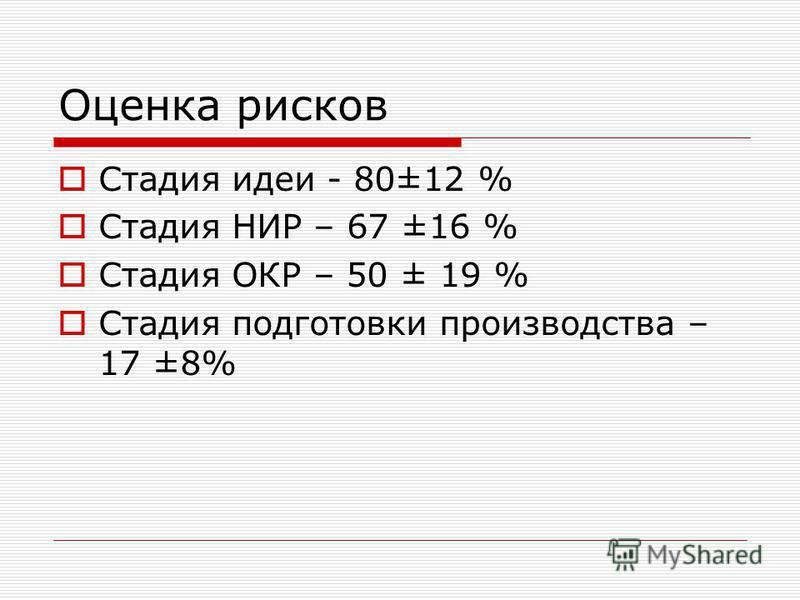 Оценка рисков Стадия идеи - 80±12 % Стадия НИР – 67 ±16 % Стадия ОКР – 50 ± 19 % Стадия подготовки производства – 17 ±8%