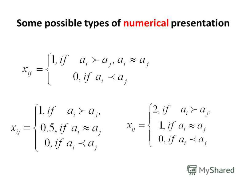 Some possible types of numerical presentation