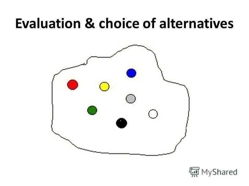 Evaluation & choice of alternatives