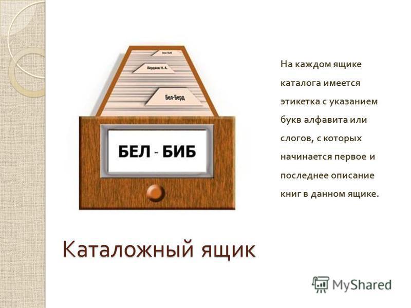 Каталожный ящик На каждом ящике каталога имеется этикетка с указанием букв алфавита или слогов, с которых начинается первое и последнее описание книг в данном ящике.