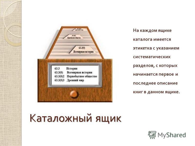 Каталожный ящик На каждом ящике каталога имеется этикетка с указанием систематических разделов, с которых начинается первое и последнее описание книг в данном ящике.