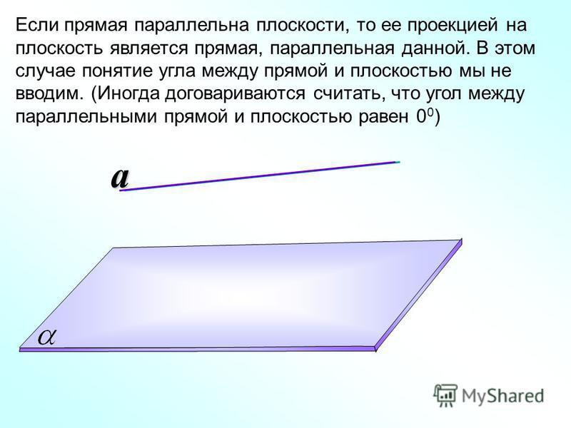 Если прямая параллельна плоскости, то ее проекцией на плоскость является прямая, параллельная данной. В этом случае понятие угла между прямой и плоскостью мы не вводим. (Иногда договариваются считать, что угол между параллельными прямой и плоскостью