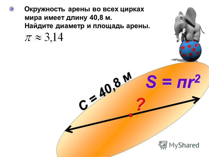 ? С = 40,8 м S = пк 2 Окружность арены во всех цирках мира имеет длину 40,8 м. Найдите диаметр и площадь арены.