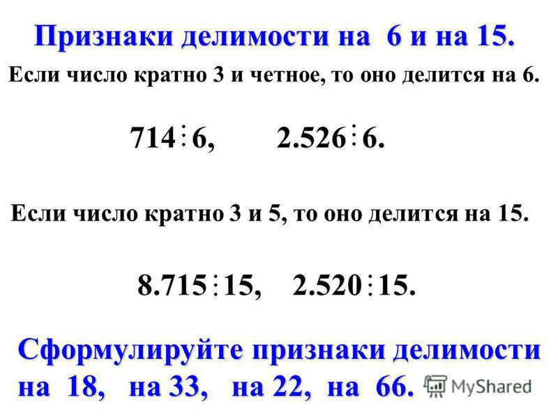 Признаки делимости на 6 и на 15. Признаки делимости на 6 и на 15. Если число кратно 3 и четное, то оно делится на 6. Если число кратно 3 и 5, то оно делится на 15. Сформулируйте признаки делимости на 18, на 33, на 22, на 66. 714 6, 2.526 6. 8.715 15,
