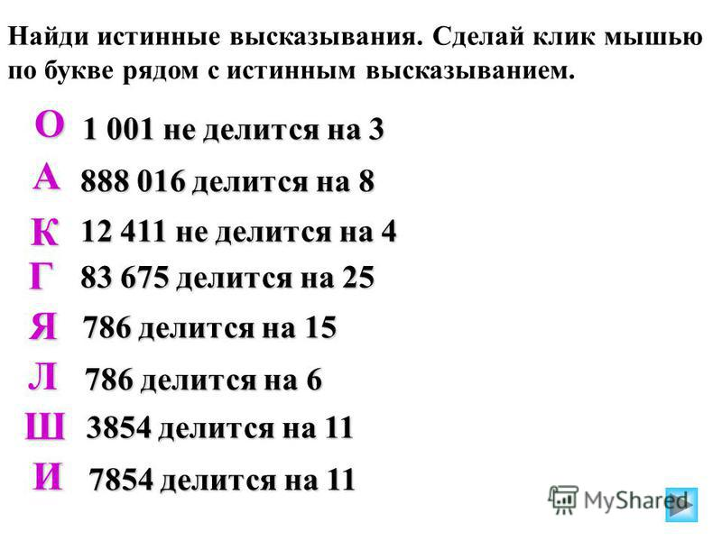 Найди истинные высказывания. Сделай клик мышью по букве рядом с истинным высказыванием. 1 001 не делится на 3 888 016 делится на 8 12 411 не делится на 4 83 675 делится на 25 786 делится на 15 Л 786 делится на 6 3854 делится на 11 7854 делится на 11