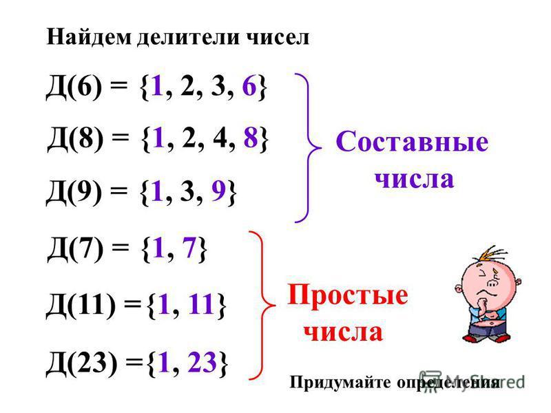 Д(6) = Найдем делители чисел {1, 2, 3, 6} Д(8) ={1, 2, 4, 8} Д(9) ={1, 3, 9} Д(7) ={1, 7} Д(11) ={1, 11} Д(23) ={1, 23} Составные числа Простые числа Придумайте определения