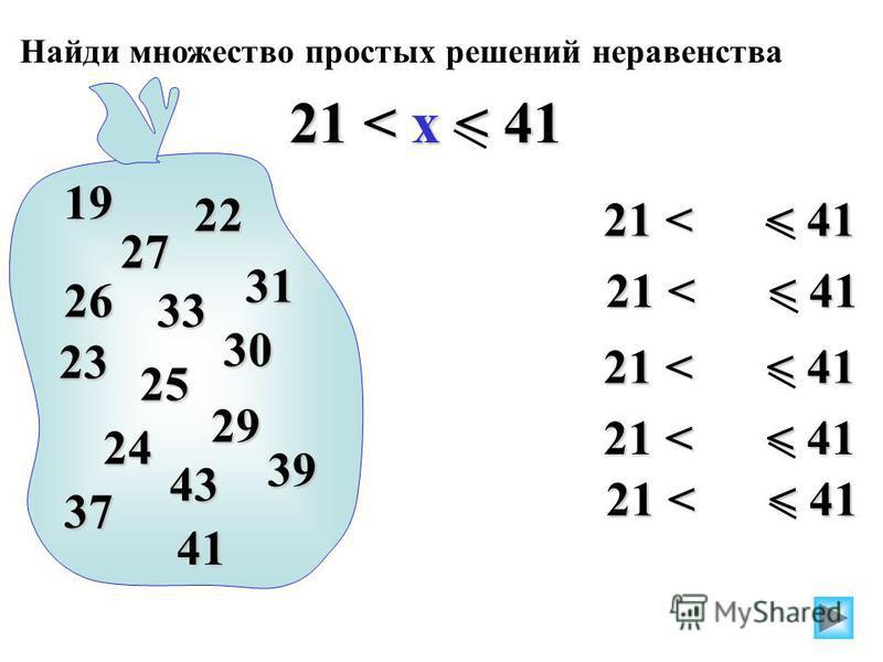 21 < < 41 Найди множество простых решений неравенства 21 < x < 41 21 < < 41 19 23 31 29 27 22 25 26 33 39 30 24 43 37 41