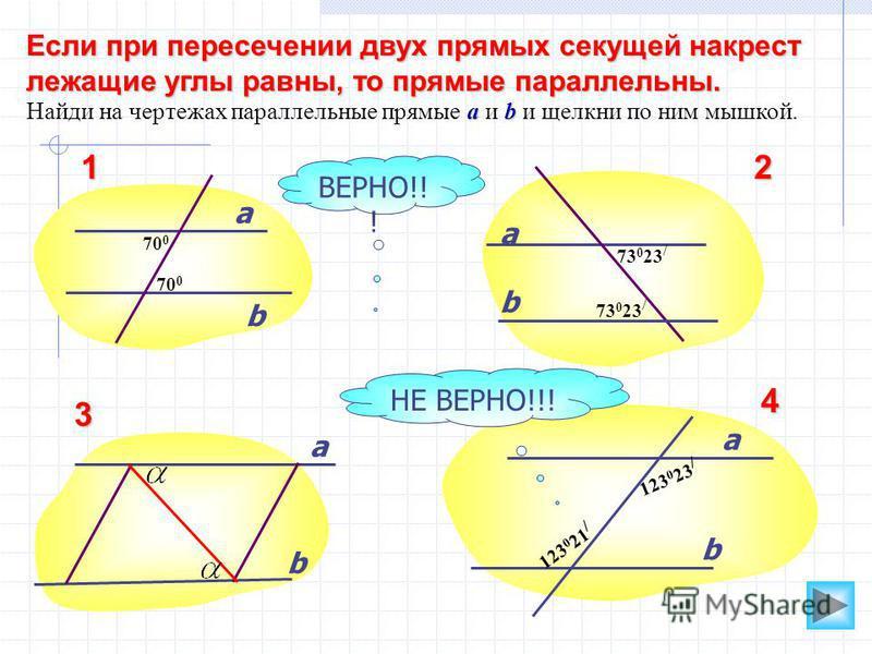 Если при пересечении двух прямых секущей накрест лежащие углы равны, то прямые параллельны. ab Найди на чертежах параллельные прямые a и b и щелкни по ним мышкой. а b b а а а b b ВЕРНО!! ! НЕ ВЕРНО!!! 70 0 73 0 23 / 123 0 23 / 123 0 21 / 12 3 4