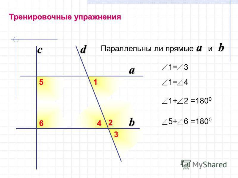 Тренировочные упражнения a b Параллельны ли прямые a и b b a dc 1= 41 3 2 46 5 1= 3 1+ 2 =180 0 5+ 6 =180 0