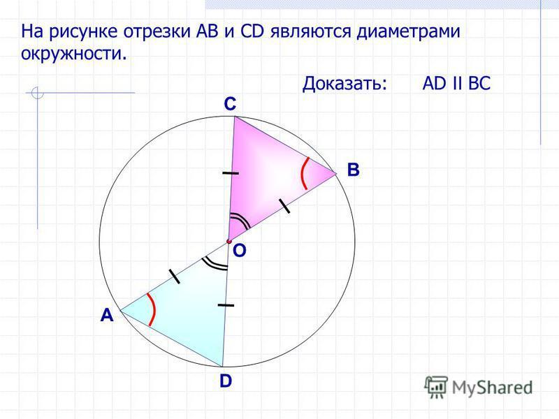 На рисунке отрезки АB и СD являются диаметрами окружности. Доказать: АD II ВС А В D C O