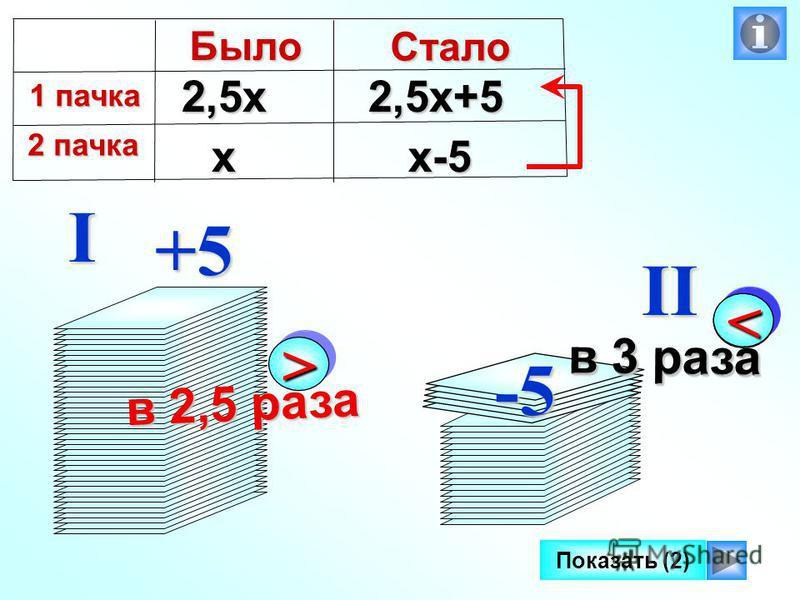 >> в 2,5 раза I II Показать (2)+5 -5 << в 3 раза х 2,5 х 2,5 х+5 х-5Было 1 пачка 1 пачка 2 пачка 2 пачка Стало << в 3 раза