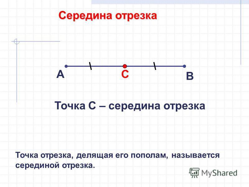 Середина отрезка А В С Точка С – середина отрезка Точка отрезка, делящая его пополам, называется серединой отрезка.