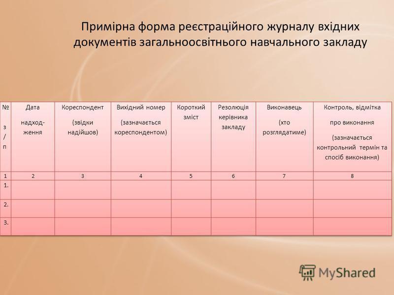 Примірна форма реєстраційного журналу вхідних документів загальноосвітнього навчального закладу