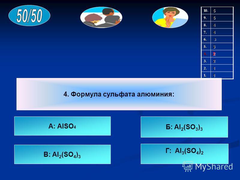 4. Формула сульфата алюминия: А: AlSO 4 В: Al 2 (SO 4 ) 3 Г: Al 3 (SO 4 ) 2 Б: Al 2 (SO 3 ) 3 10.59.5 8.4 7.4 6. 3 5.3 4.2 3.2 2.1 1.1