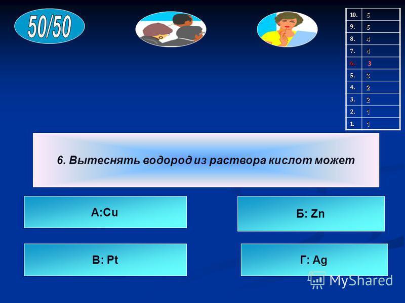 6. Вытеснять водород из раствора кислот может A:Cu B: PtГ: Ag Б: Zn 10.59.5 8.4 7.4 6. 3 5.3 4.2 3.2 2.1 1.1