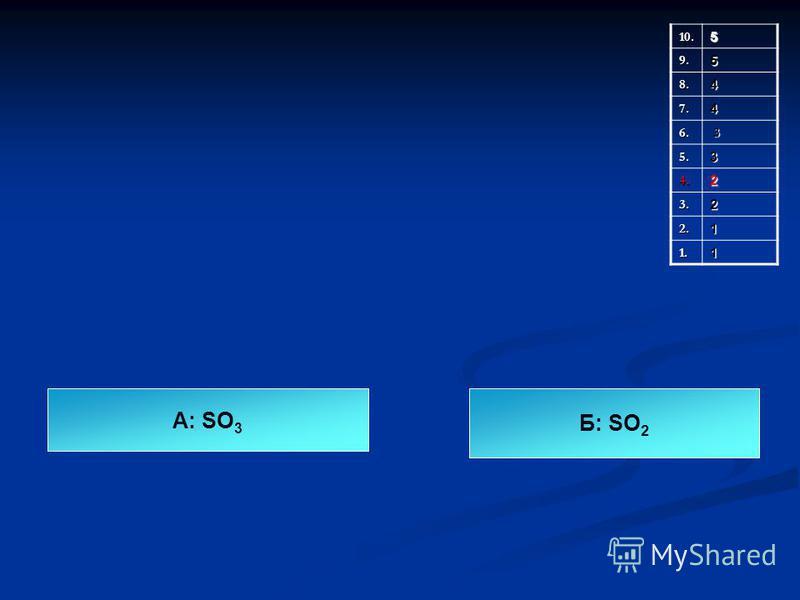 10.5 9.5 8.4 7.4 6. 3 5.3 4.2 3.2 2.1 1.1 А: SO 3 Б: SO 2