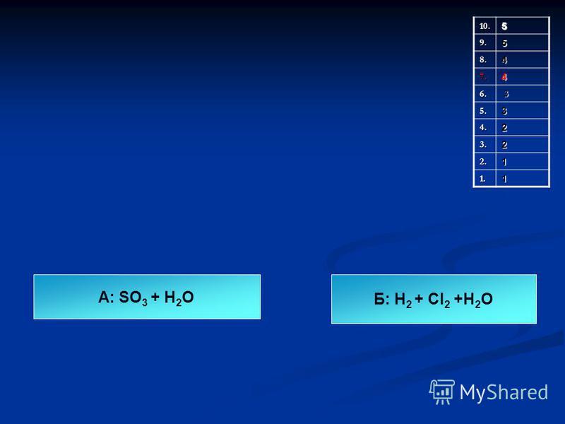 10.5 9.5 8.4 7.4 6. 3 5.3 4.2 3.2 2.1 1.1 А: SO 3 + Н 2 О Б: Н 2 + Cl 2 +Н 2 О