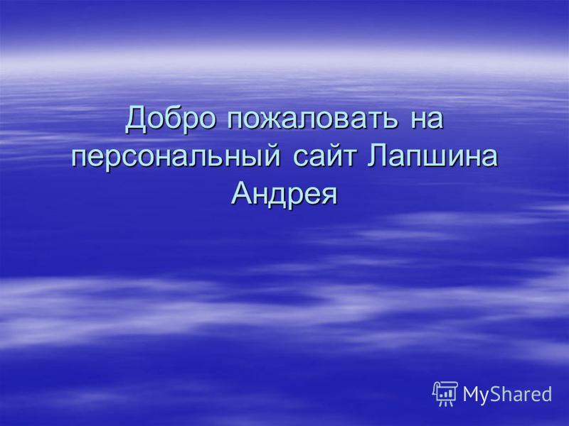 Добро пожаловать на персональный сайт Лапшина Андрея