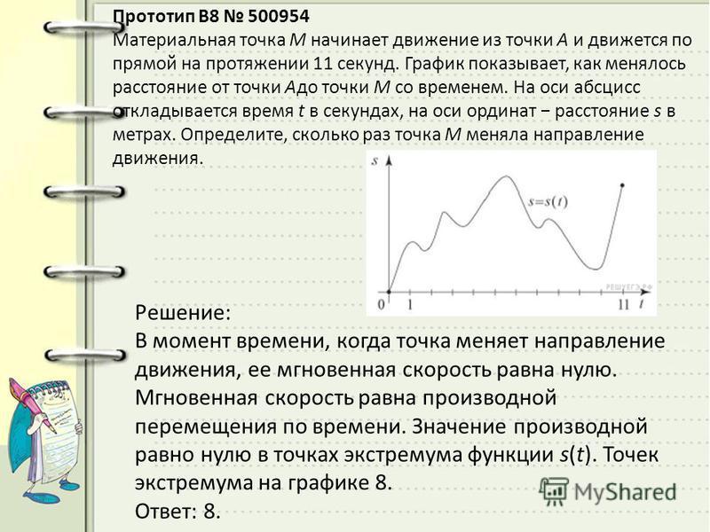 Прототип B8 500954 Материальная точка М начинает движение из точки А и движется по прямой на протяжении 11 секунд. График показывает, как менялось расстояние от точки Адо точки М со временем. На оси абсцисс откладывается время t в секундах, на оси ор