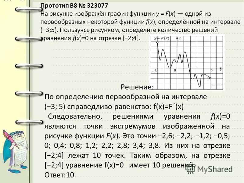 Прототип B8 323077 На рисунке изображён график функции y = F(x) одной из первообразных некоторой функции f(x), определённой на интервале (3;5). Пользуясь рисунком, определите количество решений уравнения f(x)=0 на отрезке [2;4]. Решeние: По определен