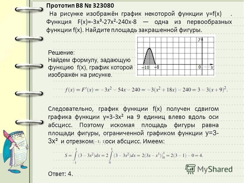 Прототип B8 323080 На рисунке изображён график некоторой функции y=f(x). Функция F(x)=-3x³-27x²-240x-8 одна из первообразных функции f(x). Найдите площадь закрашенной фигуры. Решeние: Найдем формулу, задающую функцию f(x), график которой изображён на