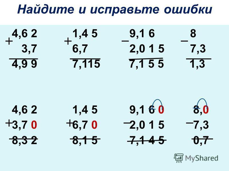 4,6 2 1,4 5 9,1 6 8 3,7 6,7 2,0 1 5 7,3 4,9 9 7,115 7,1 5 5 1,3 4,6 2 1,4 5 9,1 6 0 8,0 3,7 0 6,7 0 2,0 1 5 7,3 8,3 2 8,1 5 7,1 4 5 0,7 Найдите и исправьте ошибки