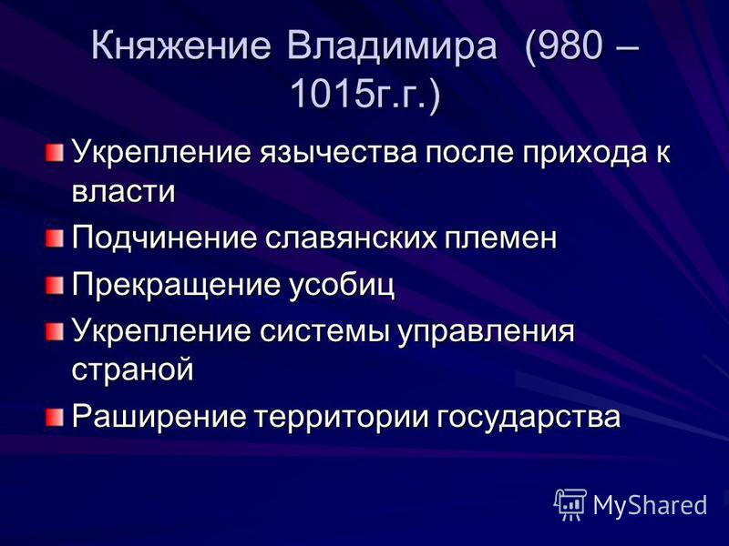 Княжение Владимира (980 – 1015 г.г.) Укрепление язычества после прихода к власти Подчинение славянских племен Прекращение усобиц Укрепление системы управления страной Раширение территории государства
