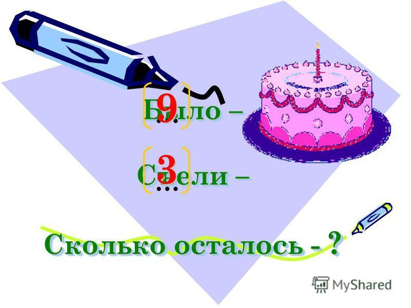 Мама разрезала торт на 9 кусочков. Папа, Наташа и Ваня съели по одному куску. Сколько кусков торта осталось?