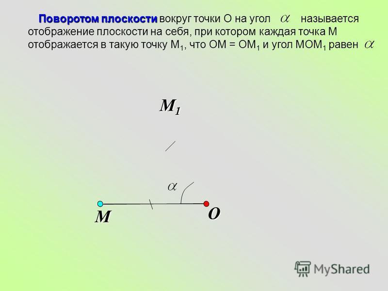 O Поворотом плоскости Поворотом плоскости вокруг точки О на угол называется отображение плоскости на себя, при котором каждая точка М отображается в такую точку М 1, что ОМ = ОМ 1 и угол МОМ 1 равен М М1М1М1М1