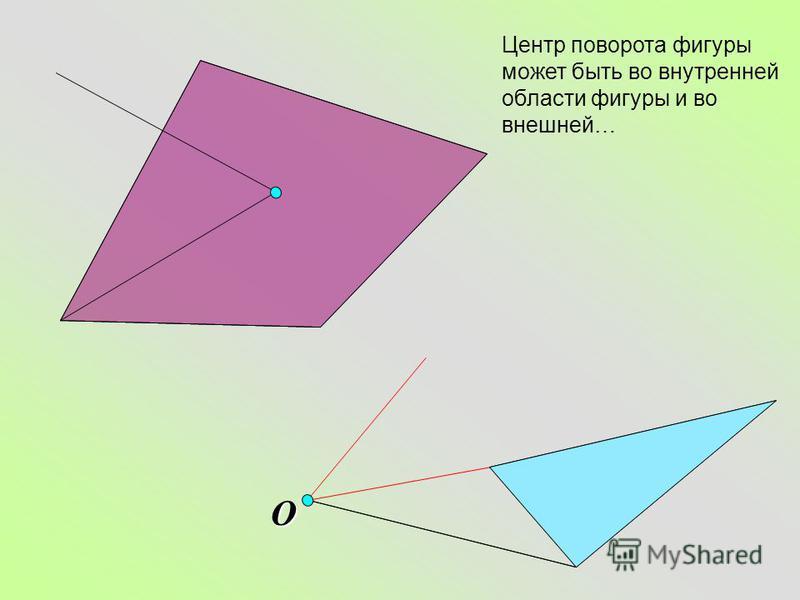 O Центр поворота фигуры может быть во внутренней области фигуры и во внешней…